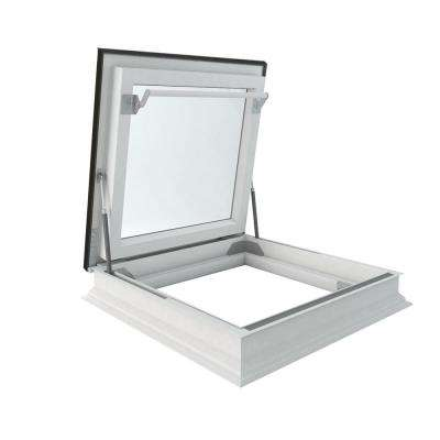 DRF 30 in. x 30 in. Venting Flat Roof Deck-Mount Roof Access Skylight Triple Glazed