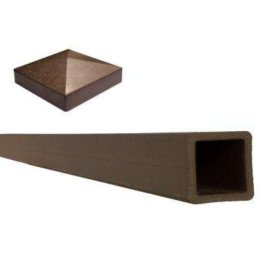 Seclusions 5 in. x 5 in. x 8 ft. Woodland Brown Wood-Plastic Composite Fence Post with Crown Post Cap
