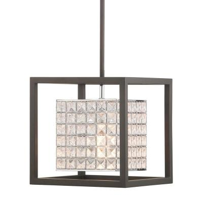 Shimmer Collection 1-Light Graphite Mini-Pendant with Clear Crystal Shade