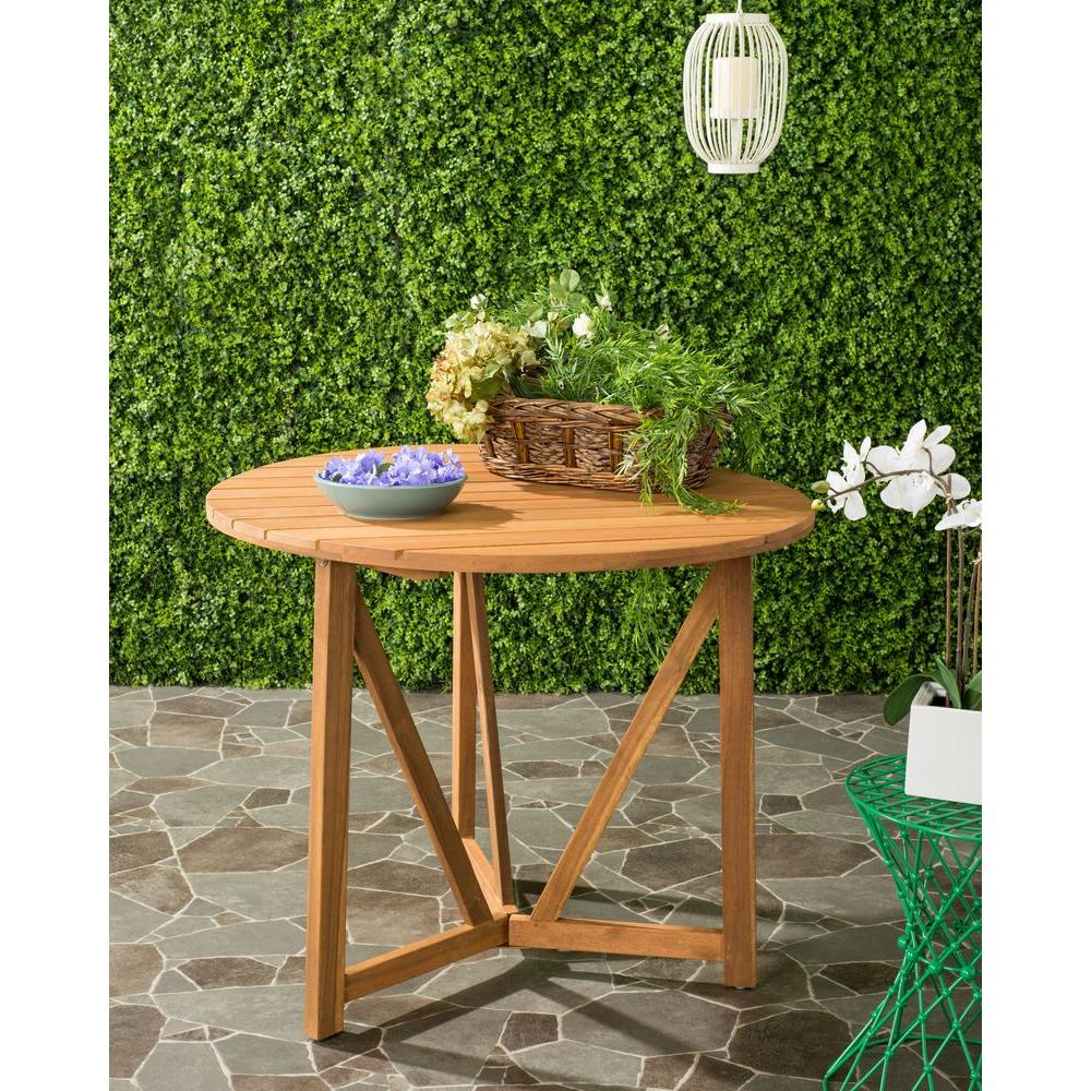 Safavieh cloverdale teak round outdoor patio dining table pat6733a the home depot Home depot teak patio furniture