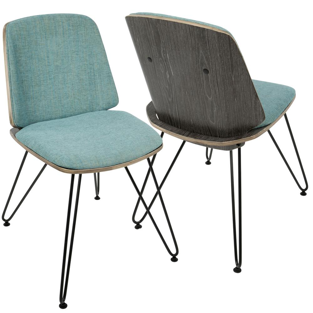 Lumisource Dark Grey Wood And Teal Avery Upholstered Dining/Accent Chair  (Set Of 2