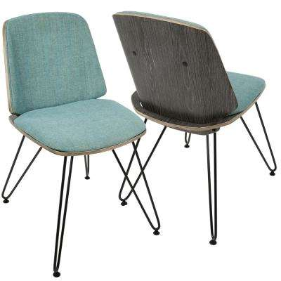 Dark Grey Wood and Teal Avery Upholstered Dining/Accent Chair (Set of 2)