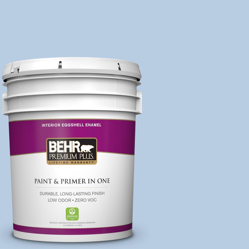 BEHR Premium Plus 5-gal. #580C-3 Impressionist Sky Zero VOC Eggshell Enamel Interior Paint