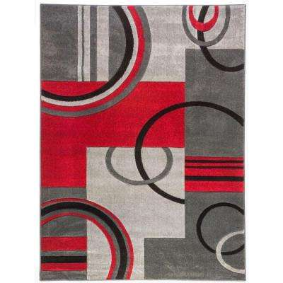 Ruby Galaxy Waves Grey and Red 7 ft. x 9 ft. Geometric Modern Area Rug