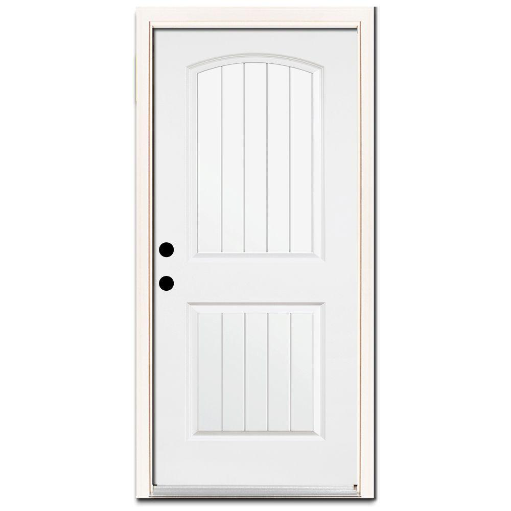Steves & Sons Premium 2-Panel Plank Primed White Steel Prehung Front Door with Brickmold-DISCONTINUED