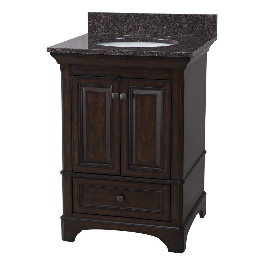 Home Decorators Collection Moorpark 25 in. W x 22 in. D Bath Vanity in Burnished Walnut with Granite Vanity Top in Brown