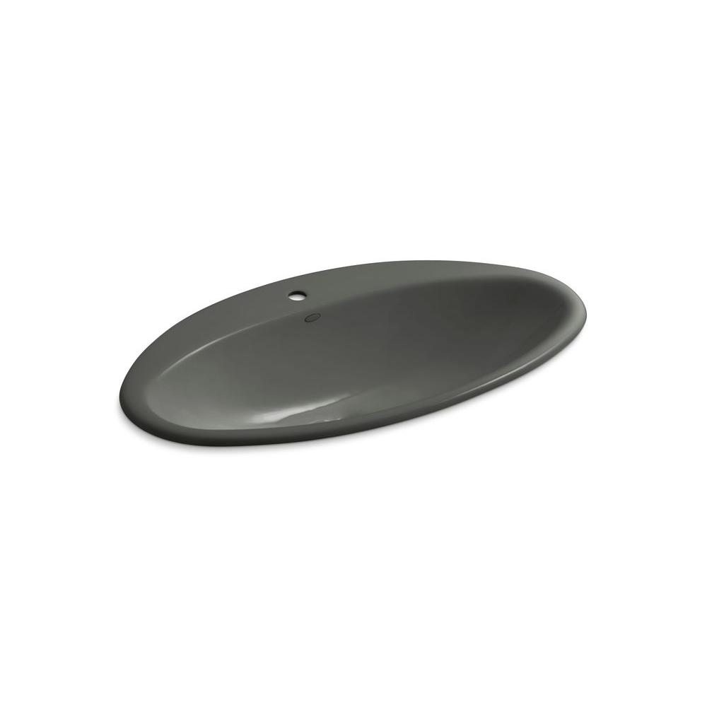 KOHLER Ellipse Drop-in Bathroom Sink in Thunder Grey-DISCONTINUED