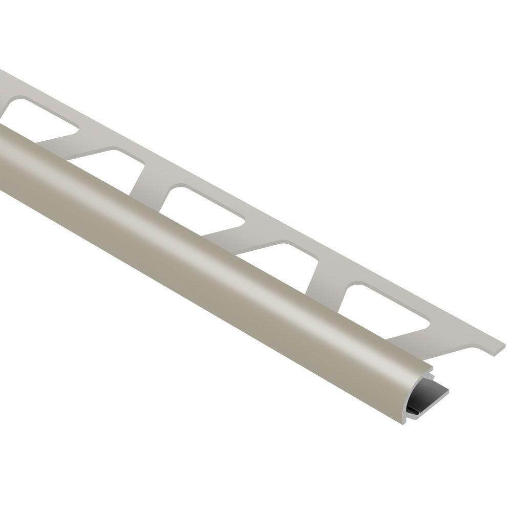 Rondec Grey Color-Coated Aluminum 1/4 in. x 8 ft. 2-1/2 in. Metal Bullnose Tile Edging Trim