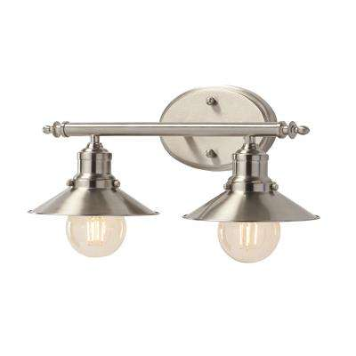 2-Light Brushed Nickel Retro Vanity Light with Metal Shades