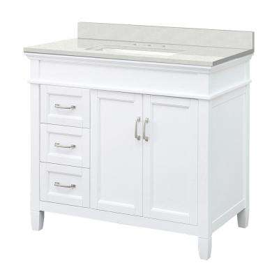 Ashburn 37 in. W x 22 in. D Vanity Cabinet in White with Engineered Marble Vanity Top in Snowstorm with White Basin