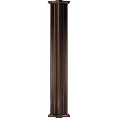 3-1/2 in. x 8 ft. Textured Bronze Non-Tapered Fluted Square Shaft (Load-Bearing) Endura-Aluminum Column