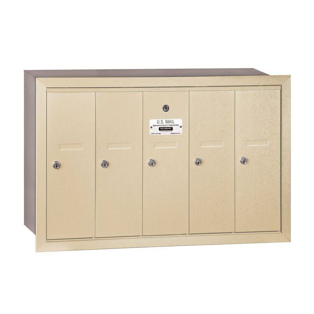 Salsbury Industries 3500 Series Sandstone Recessed-Mounted Private Vertical Mailbox with 5 Doors