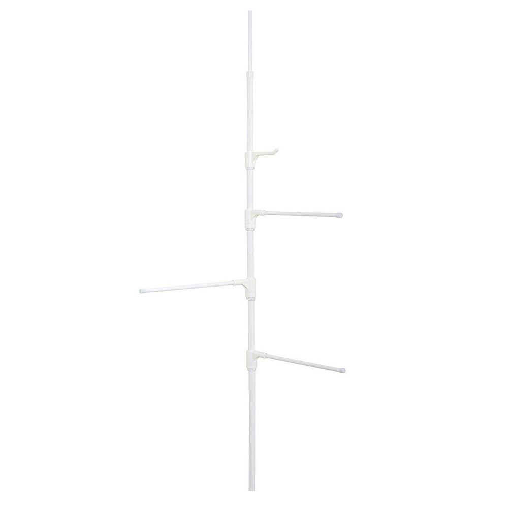 Zenna Home Tub and Shower Towel Pole Caddy in White