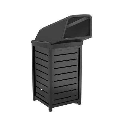 30 Gal. Black Commercial Trash Can with Chute Lid