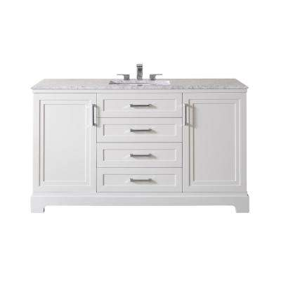Idlewind 60 in. Bath Vanity in White with White Marble Vanity Top in White with White Basin