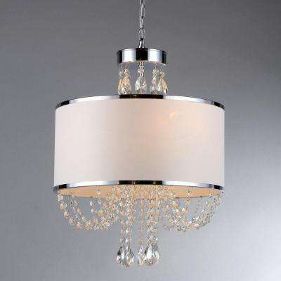 Hera 4-Light Chrome Chandelier with Fabric Shade