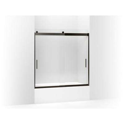 Levity 57 in. W x 59.75 in. H Frameless Sliding Tub Door with Handles in Anodized Dark Bronze