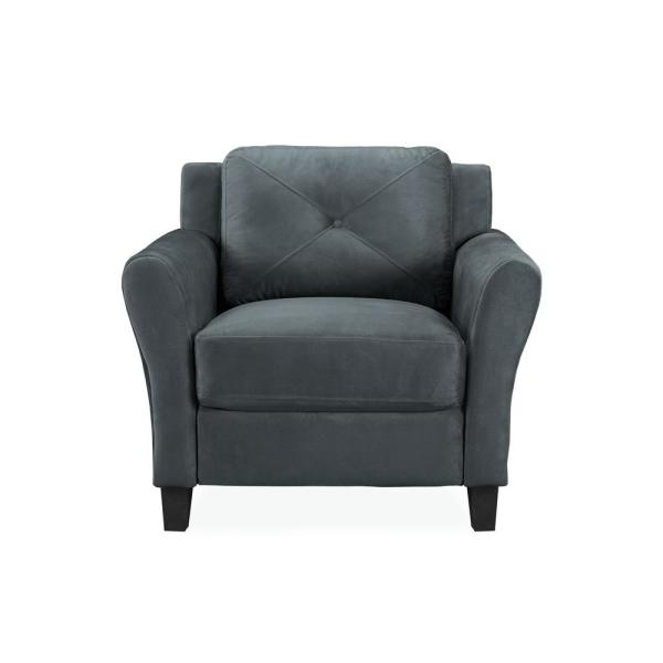 Harvard Microfiber Chair with Rolled Arm in Dark Grey