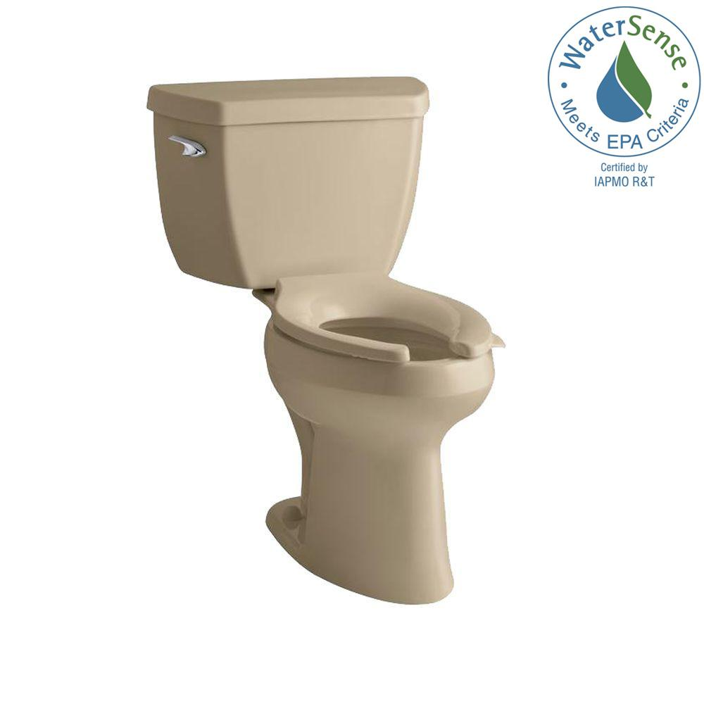 KOHLER Highline 2-Piece Pressure Lite Elongated Toilet in Mexican Sand-DISCONTINUED