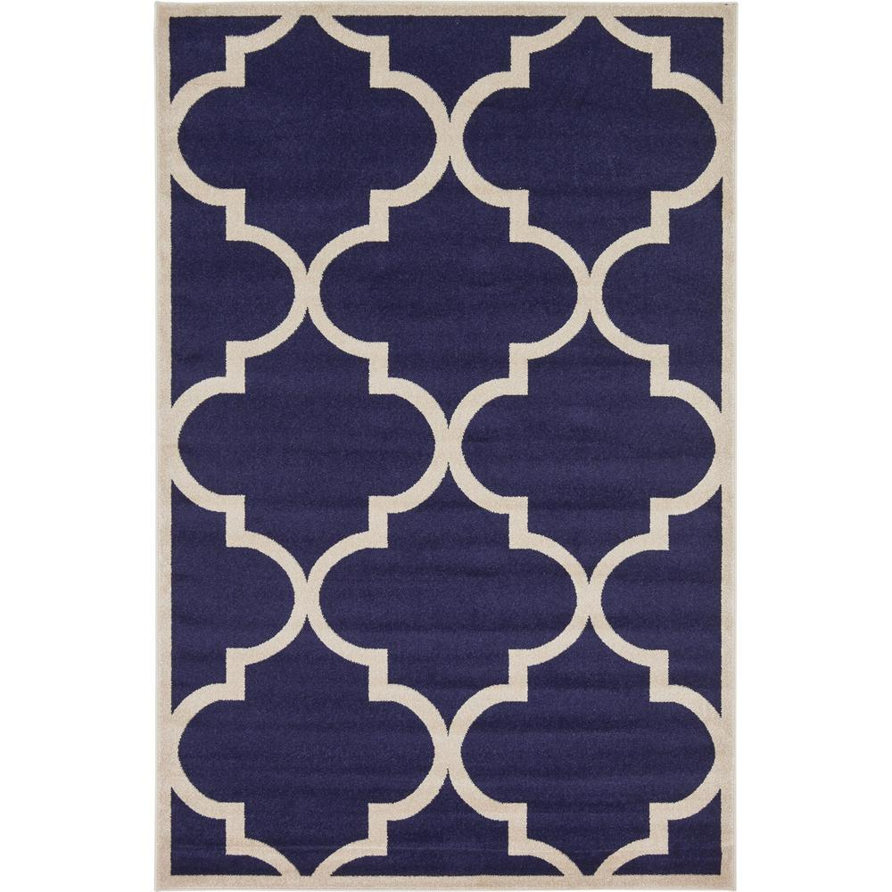 Royal Blue And White Trellis Rug: NuLOOM Trellis Navy Blue 7 Ft. 6 In. X 9 Ft. 6 In. Area