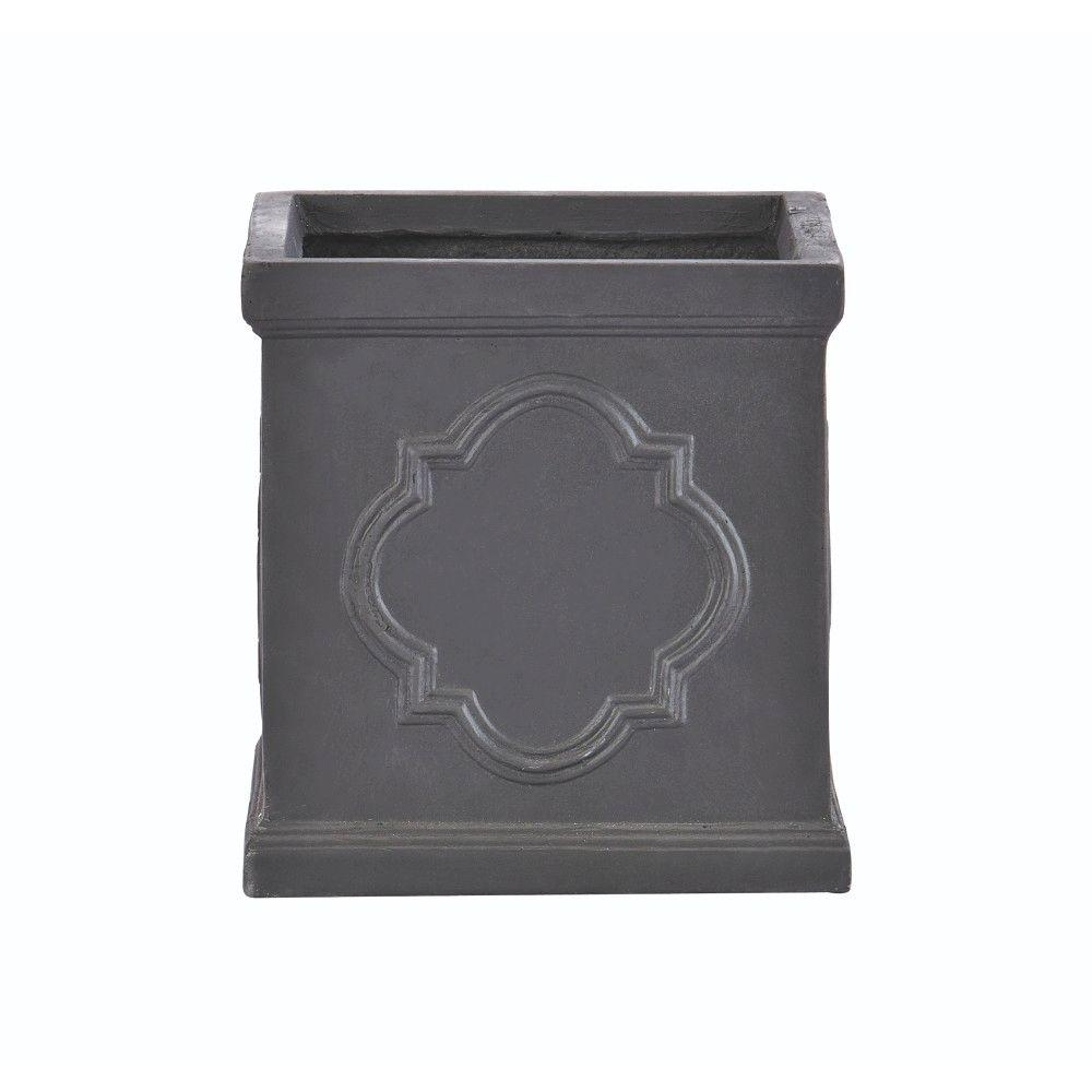 Quarterfoil 13 in. H x 15 in. Square Resin Planter
