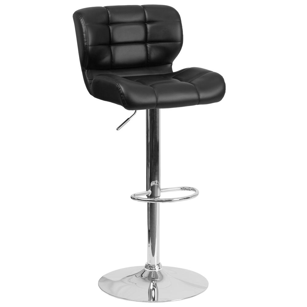 33 in. Adjustable Height Black Cushioned Bar Stool
