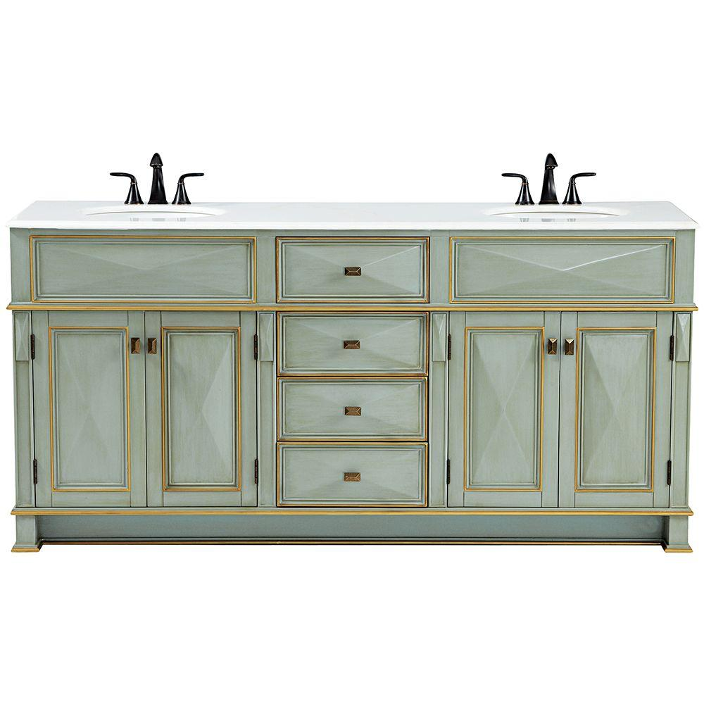 Home decorators collection dinsmore 72 in w x 22 in d double bath vanity in gilded green with - Home decor bathroom vanities ...