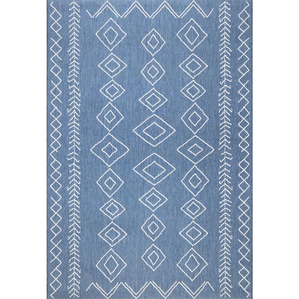 Serna Outdoor Blue 10 ft. x 14 ft. Area Rug