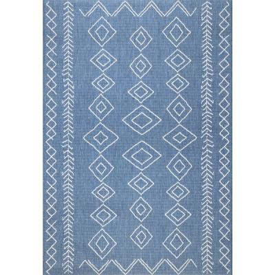 Serna Moroccan Diamonds Blue 6 ft. Indoor/Outdoor Square Area Rug