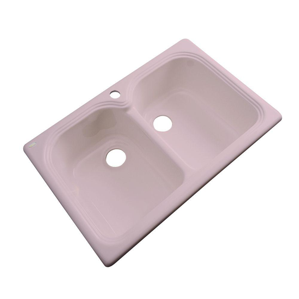 Thermocast Hartford Drop-In Acrylic 33 in. 1-Hole Double Bowl Kitchen Sink in Wild Rose