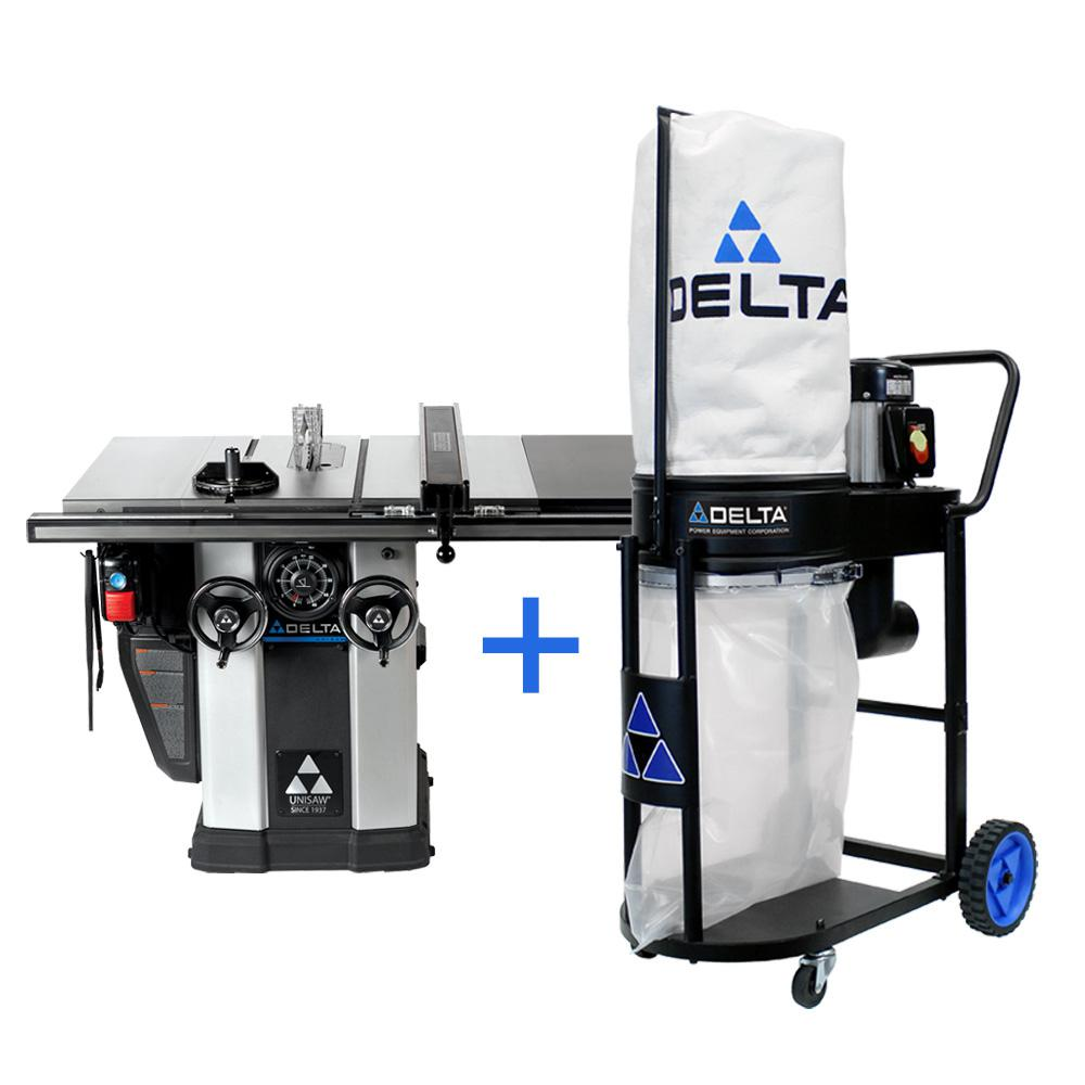 Delta 3 HP Motor 10 inch Unisaw w/ 36 inch Biesemeyer Fence System and FREE 1.0 HP Dust Collection System