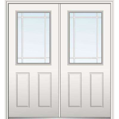 72 in. x 80 in. Prairie Internal Muntins Right-Hand Inswing 1/2-Lite Clear Primed Fiberglass Smooth Prehung Front Door