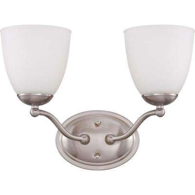 2-Light Brushed Nickel Vanity Fixture with Frosted Glass Shade