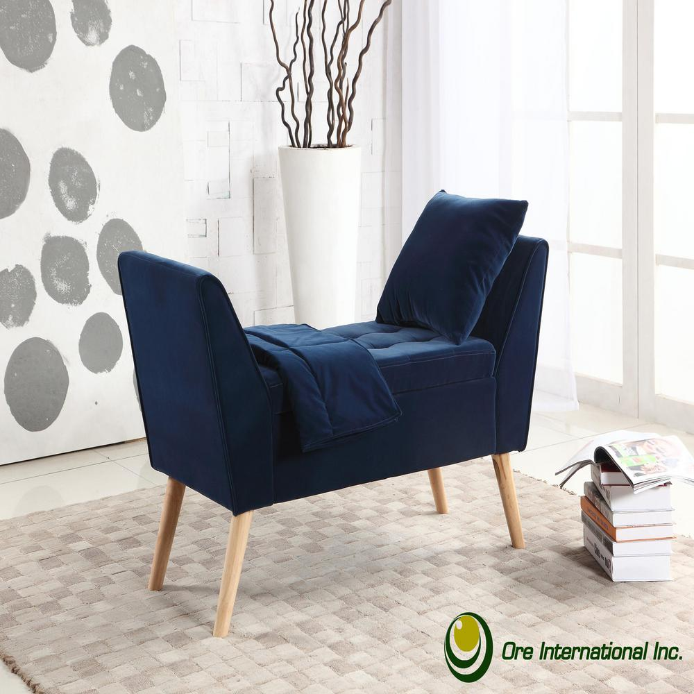 Navy Blue Mid-Century Storage Bench with Pillow and Blanket-HB4695 ...