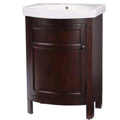 Tuscan 23.75 in. W Bath Vanity in Chocolate with Vitreous China Vanity Top in White with White Sink