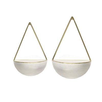 S/2 Creamy Round Metal Wall Planters