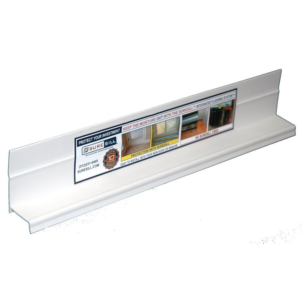 Suresill 1 3 8 In X 84 In White Pvc Sloped Head Flashing For Door And Window Installation And