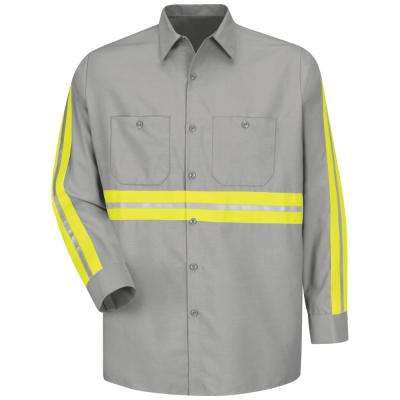 Men's 3X-Large Light Grey with Yellow/ Green Visibility Trim Enhanced Visibility Industrial Work Shirt