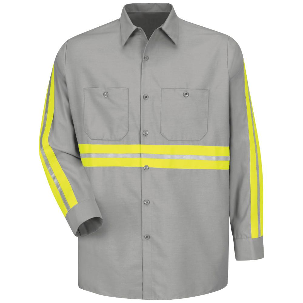 2f675088 Red Kap Men's Small Light Grey with Yellow/ Green Visibility Trim Enhanced  Visibility Industrial Work Shirt-SP14EG RG S - The Home Depot