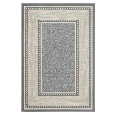 Ottohome Collection Contemporary Bordered Design Gray 3 ft. 3 in. x 5 ft. Non-Slip Rubber Back Area Rug