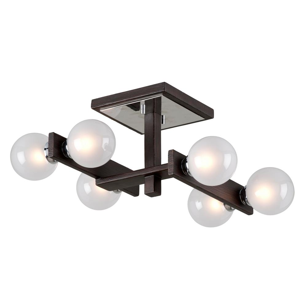 Troy Lighting Network 6-Light Forest Bronze and Polished Chrome Semi-Flush Mount with Frosted Clear Glass Ball Shade
