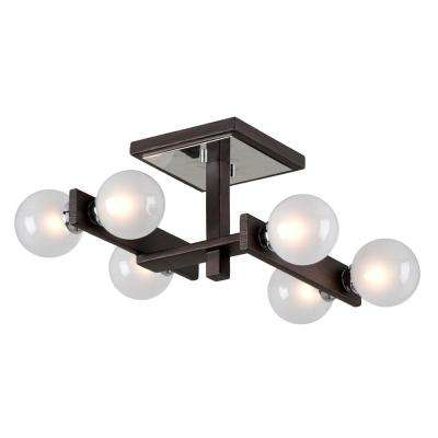 Network 6-Light Forest Bronze and Polished Chrome Semi-Flush Mount with Frosted Clear Glass Ball Shade