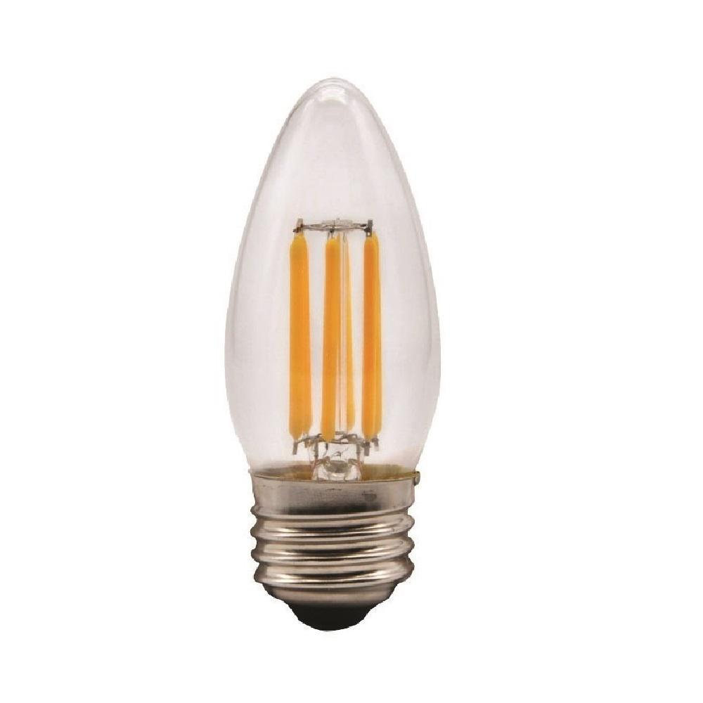 TriGlow 60-Watt Equivalent B11 Dimmable Filament Glass Torpedo LED Light Bulb Warm White 2700K