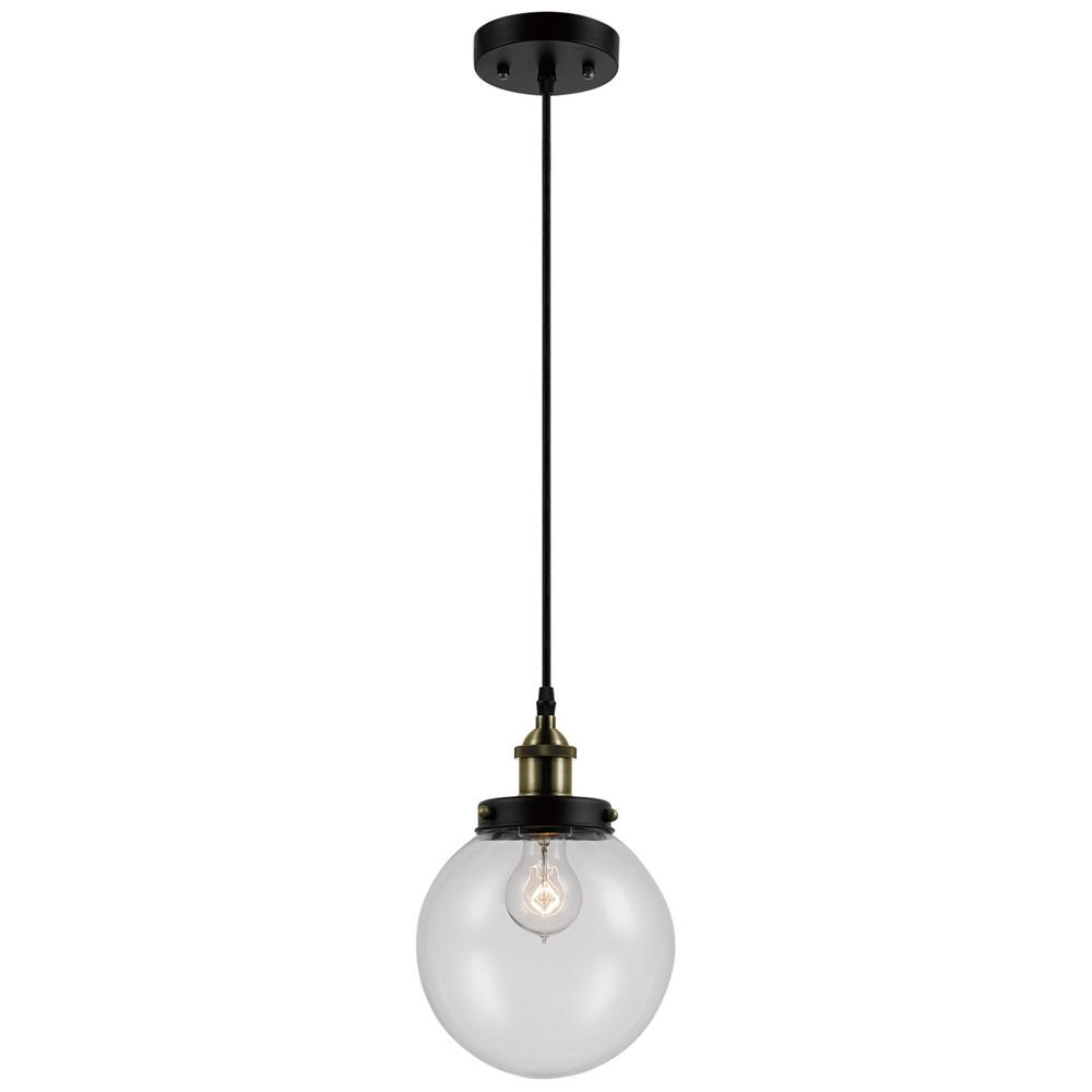 Globe Electric Daario 1-Light Bronze and Antique Brass Hanging Pendant with Clear Glass Shade