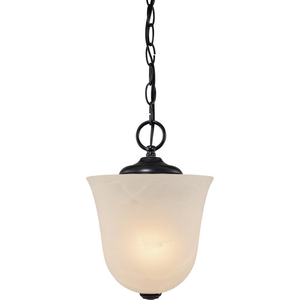 Hammond 1-Light Indoor Antique Bronze Mini Convertible Hanging Pendant (Semi-Flush) with Alabaster Glass Bell Shade