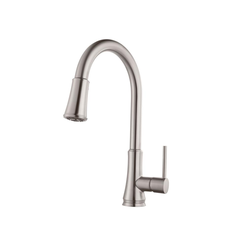 Pfister Pfirst Series Single Handle Pull Down Sprayer Kitchen Faucet In Stainless  Steel
