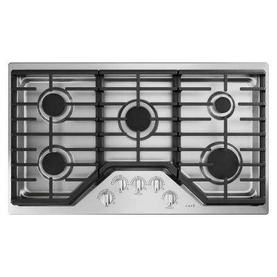 36 in. Gas Cooktop in Stainless Steel and Brushed Stainless with 5 Elements including 18,000 BTU Burner