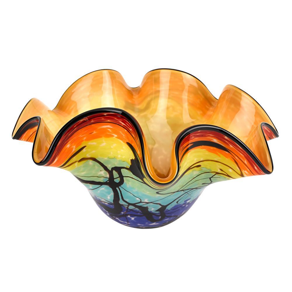 Allura Murano Style Art Glass Multi-Color Floppy Centerpiece Bowl