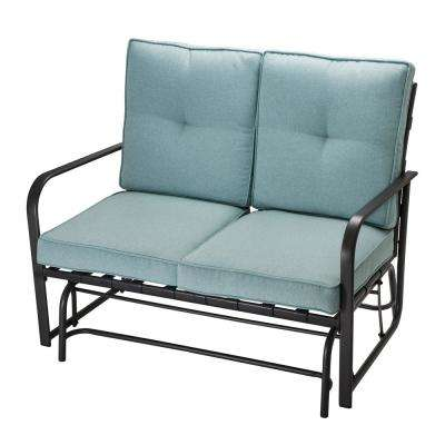 2-Person Metal Outdoor Patio Loveseat Glider Chair with Blue Cushion