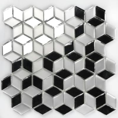 Musico Silver Diamond Mosaic 2 in. x 2 in. Glossy & Matte Glass Peel & Stick Wall Tile (7 Sq. ft./Case)
